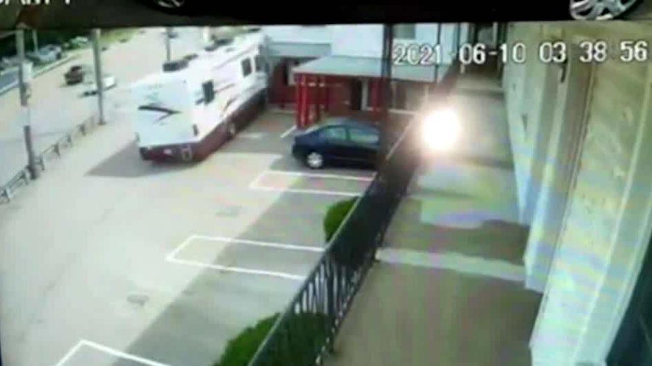 Surveillance video shows RV crashing into Westwood hotel
