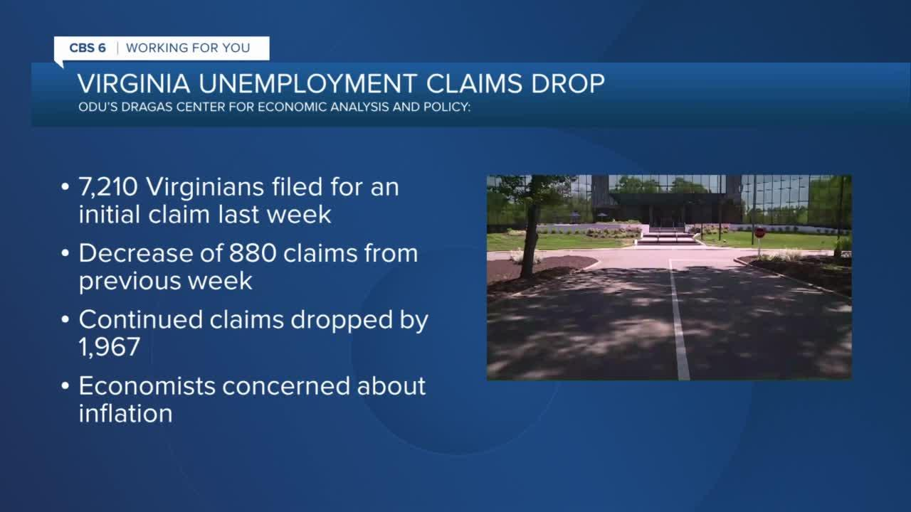 Number of Virginians filing for unemployment drops; economists worried about inflation