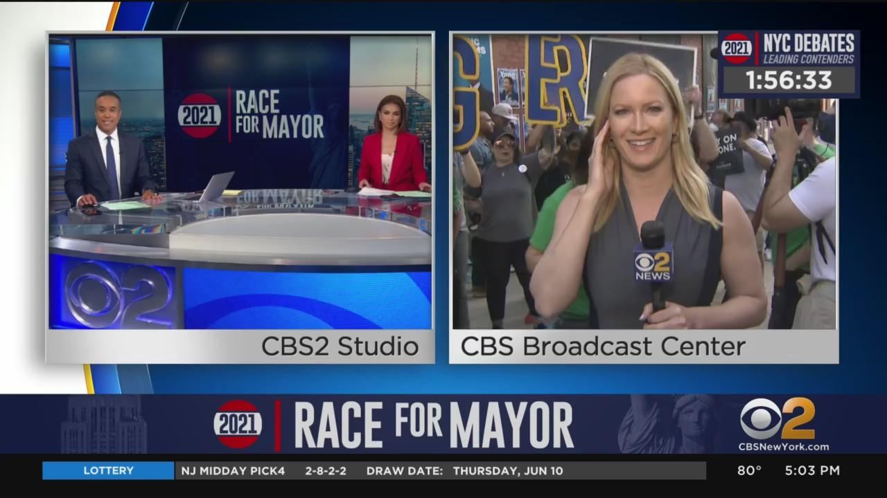NYC Mayoral Debate: Crowd Gathering Outside CBS Broadcast Center