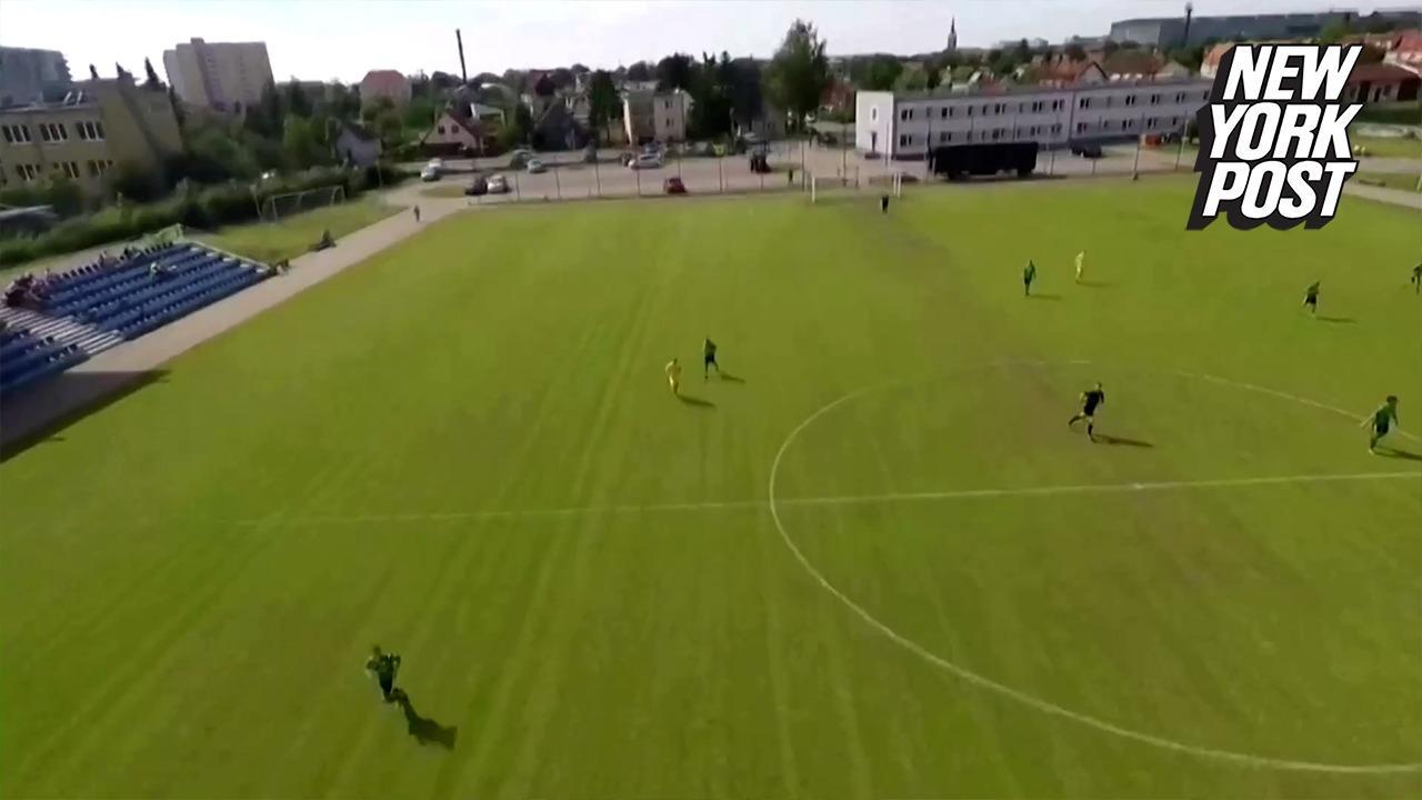 Parachute Fail Crashes Soccer Game in Poland