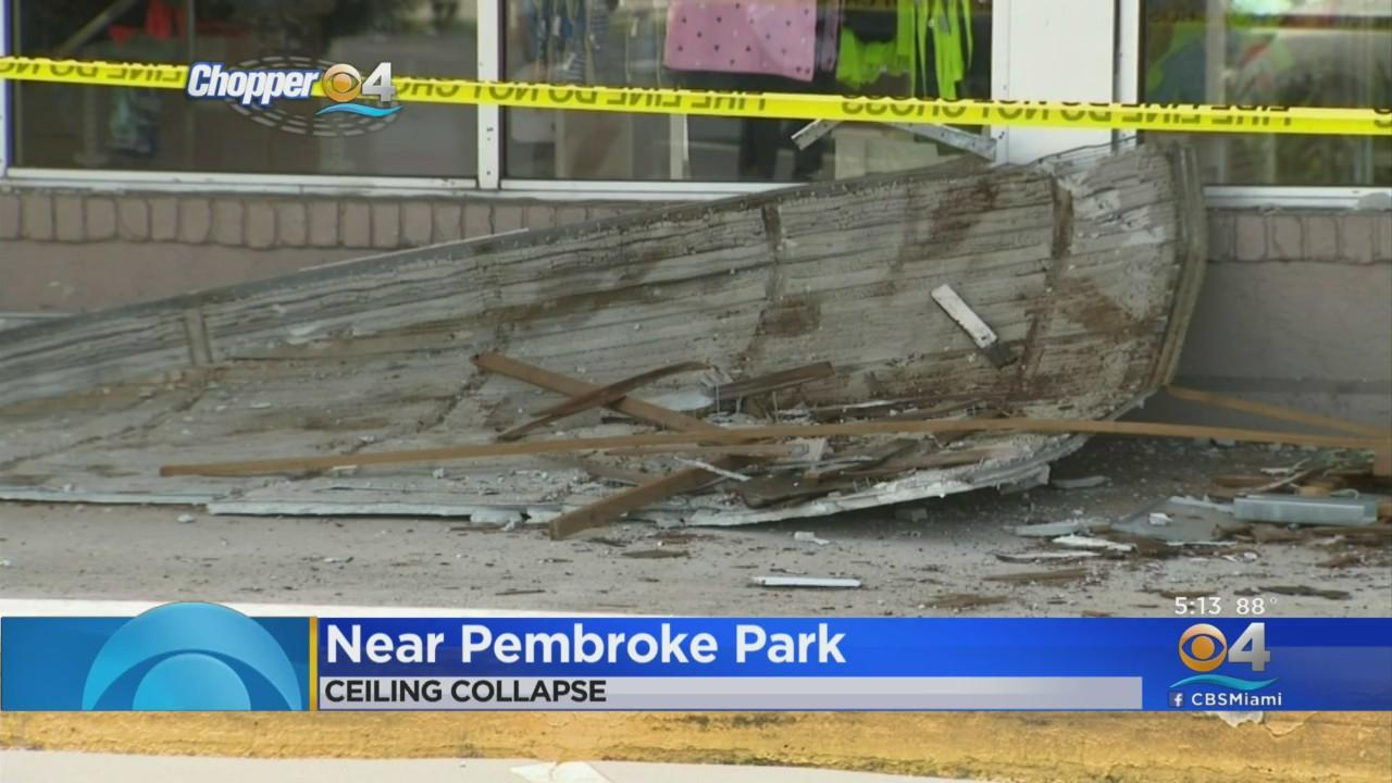 Partial Collapse Of Walkway Ceiling At Fort Lauderdale Strip Mall