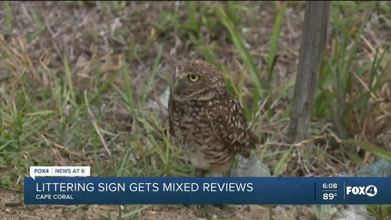 Cape Coral man's littering sign getting mixed reviews