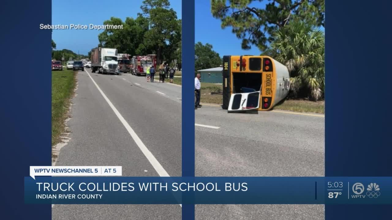 School bus rolls over after being hit by tractor-trailer in SebastianSchool bus rolls over after being hit by tractor-trailer in