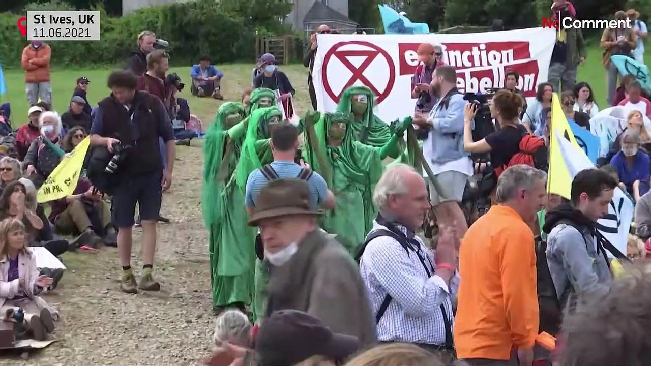 Activists protest near G-7 venue