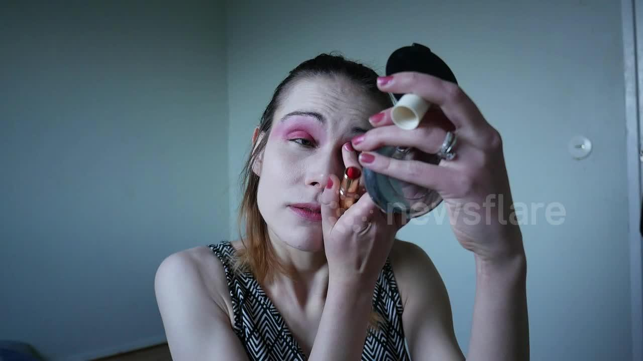 Swedish woman completes monochrome makeup look using just lipstick