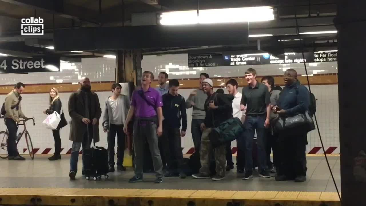 Pitch Perfect: Group of men sing a cappella while waiting for subway in New York