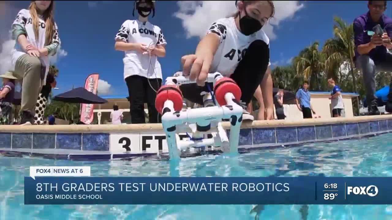 Oasis Middle School students test underwater robotics