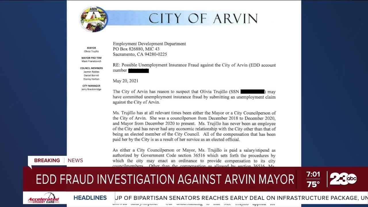 EDD Fraud Investigation into Arvin Mayor