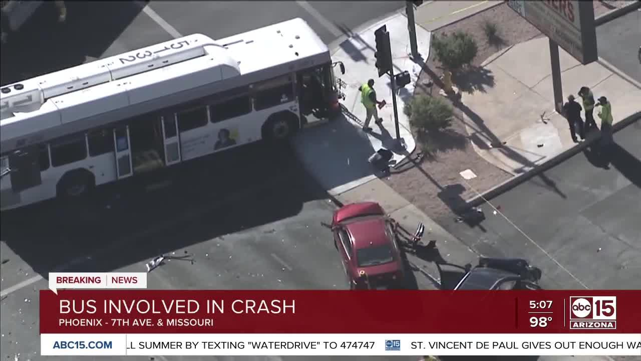 Two dead, 7 injured in multi-vehicle crash involving a city bus at 7th Avenue and Missouri