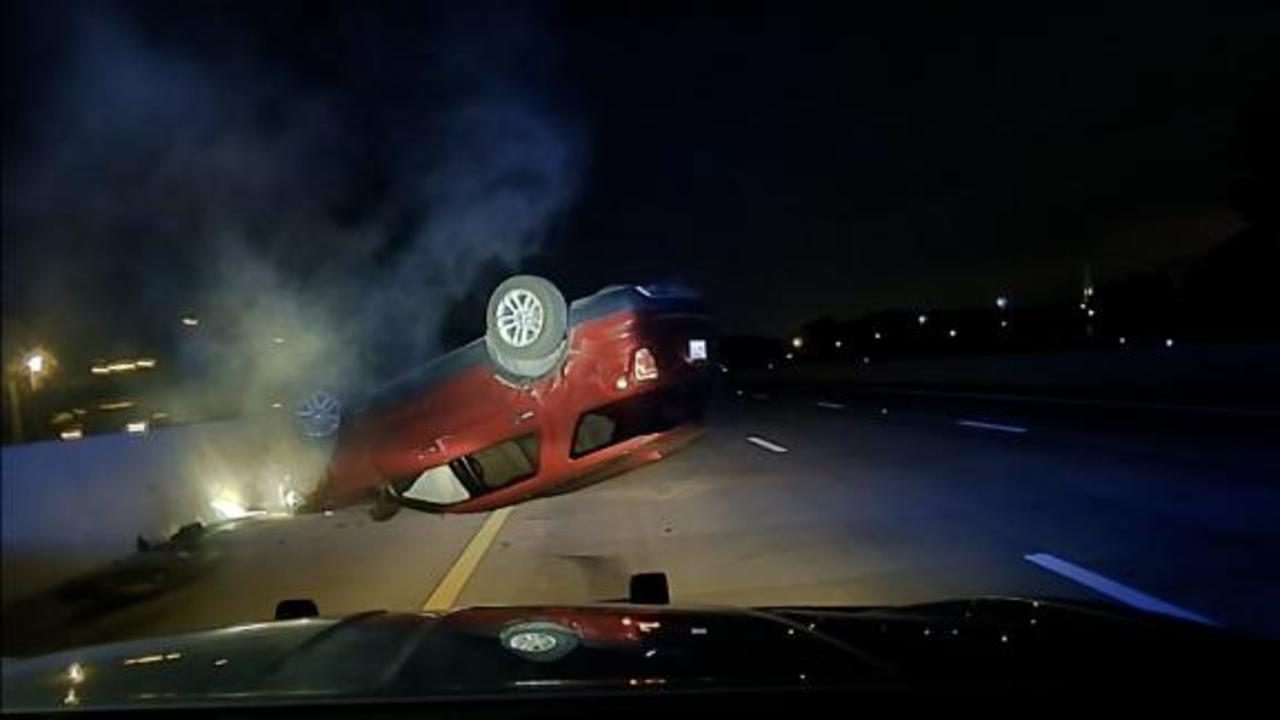 Pregnant woman's car spins out and flips after being hit by an officer
