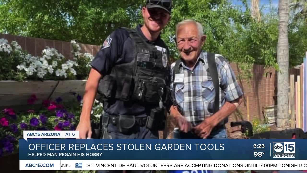Mesa officer donates supplies after avid gardener had his tools stolen