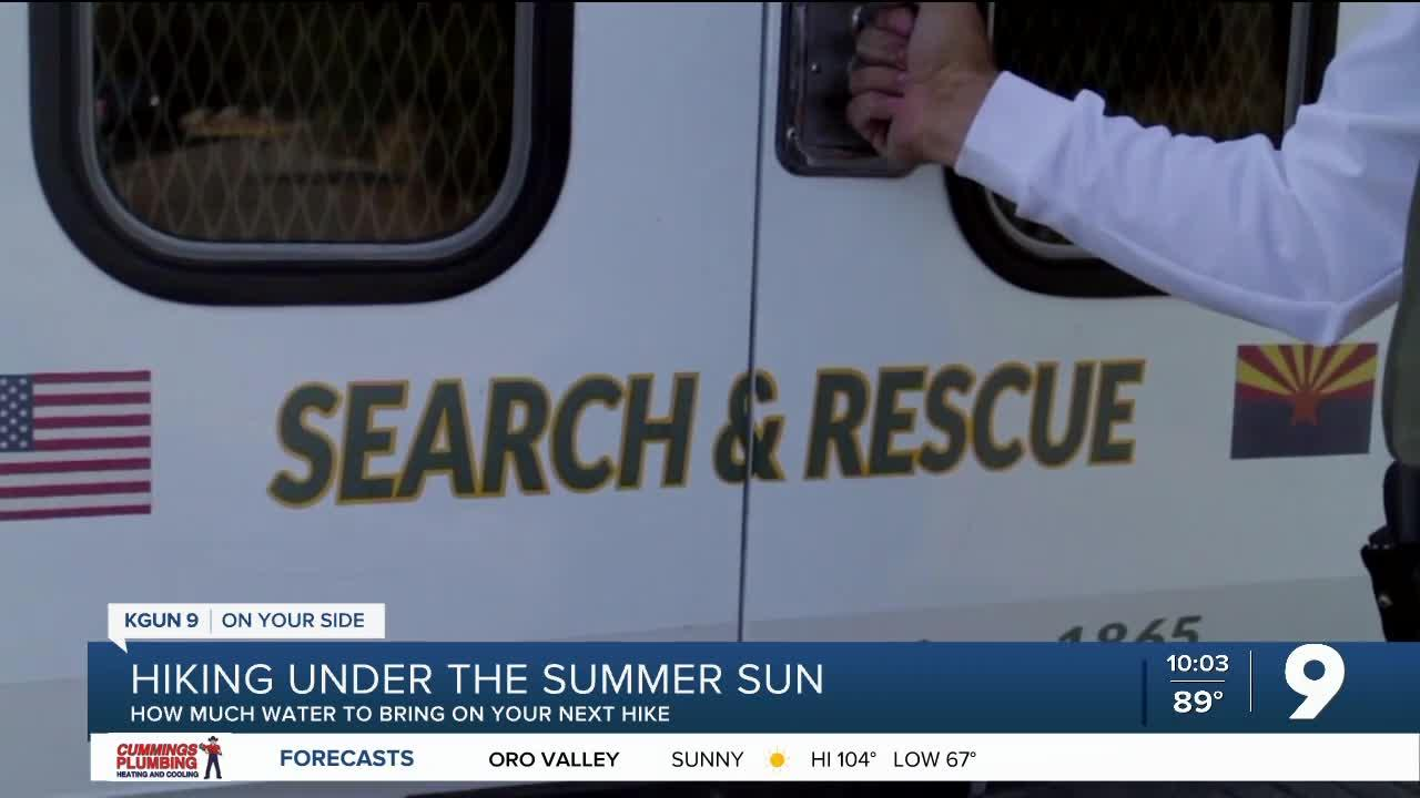 'The big thing in our desert climate is that hydration.'  Pima County Sheriff's deputy, Stevan Chuk, explains how much water sho