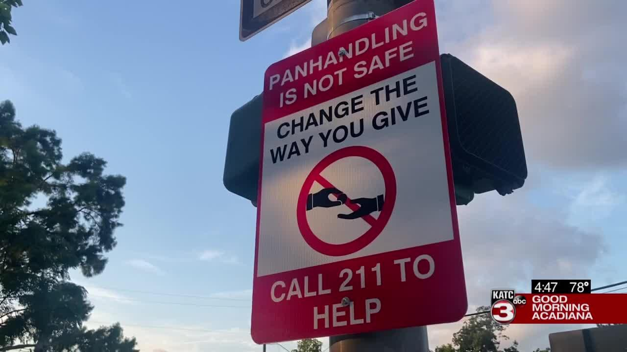 Anti-panhandling signs appear in Lafayette