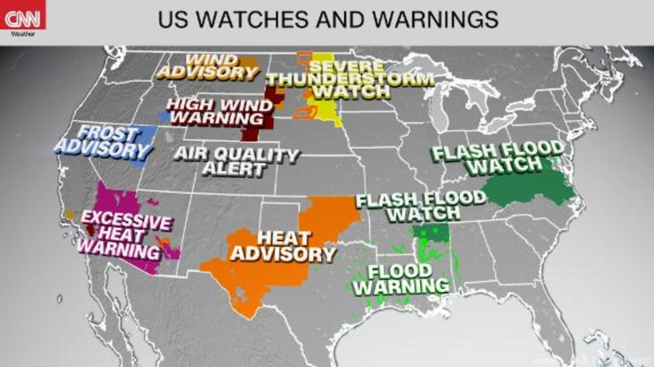 Flood threat and storms shift east as the West remains hot and dry