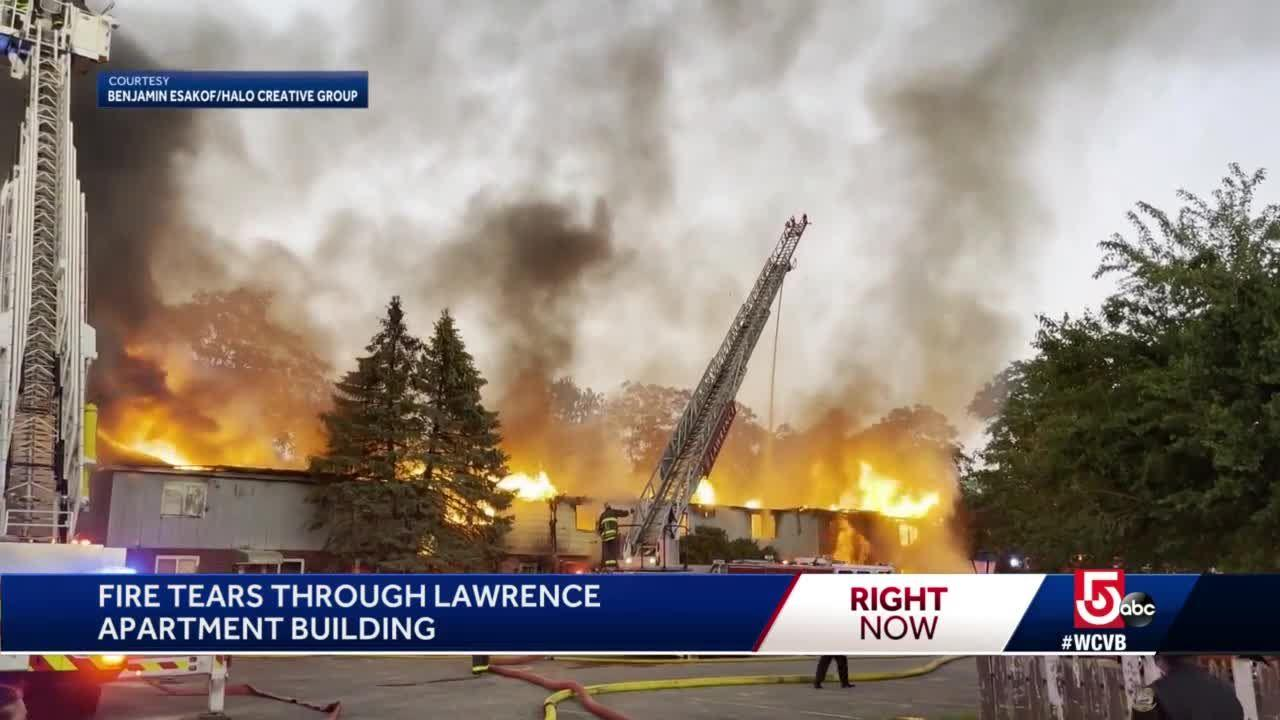 Raging fire under investigation in Lawrence