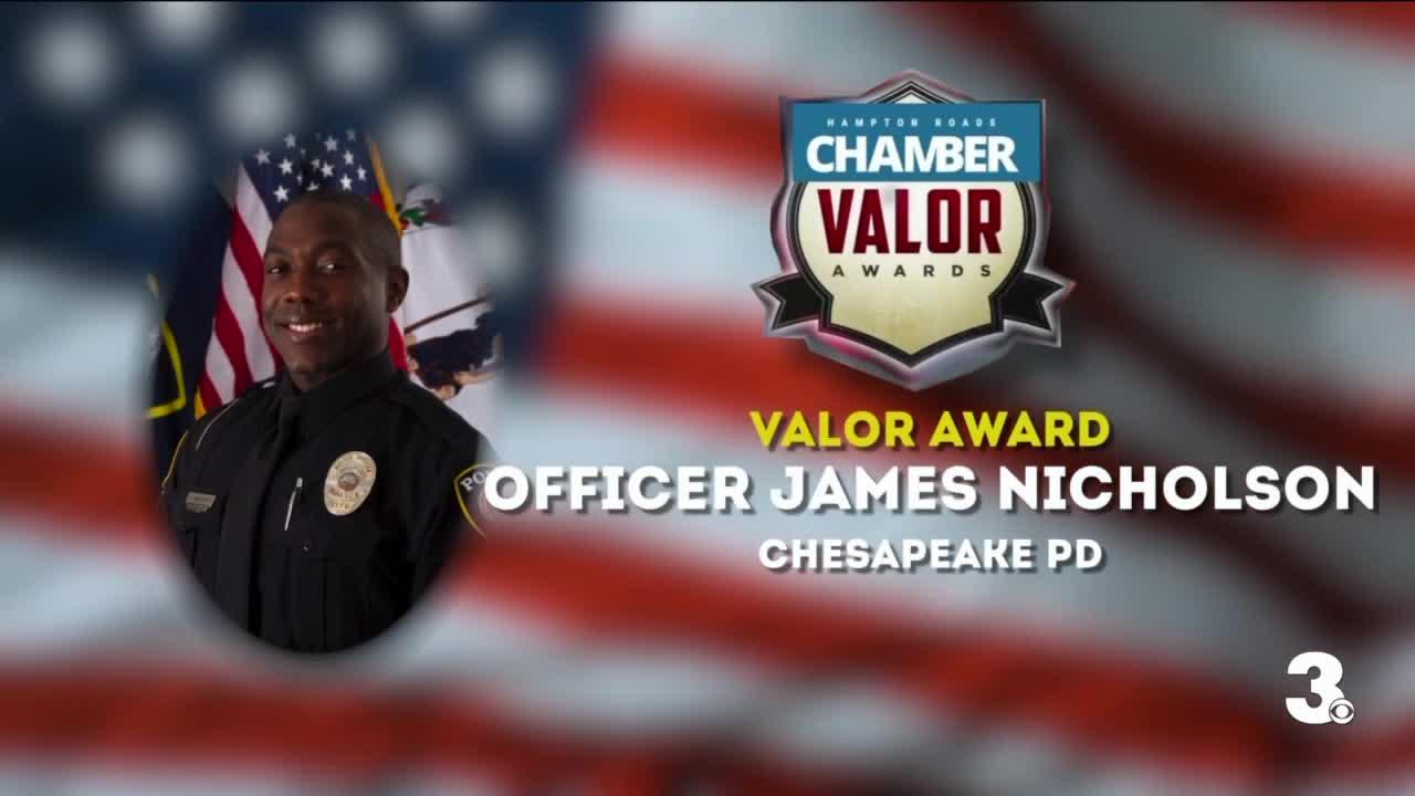 Chesapeake officer awarded for saving people trapped in a car with live power lines down