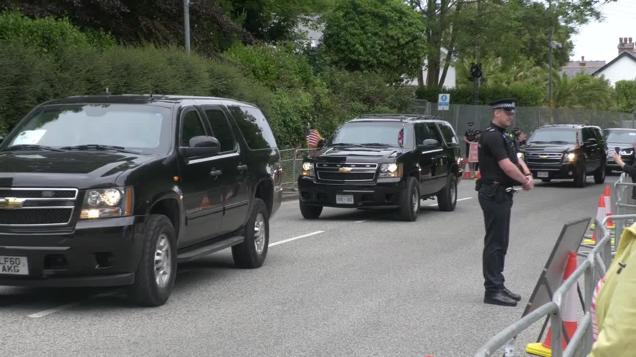 President Biden's motorcade passes along Cornish street in Carbis Bay, near St Ives