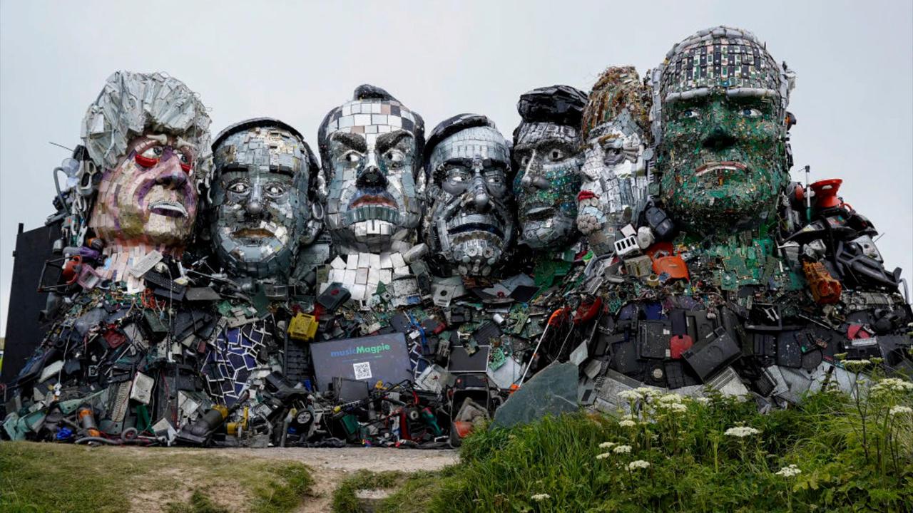 Artist Creates 'Mount Recyclemore' Ahead of G7 Summit