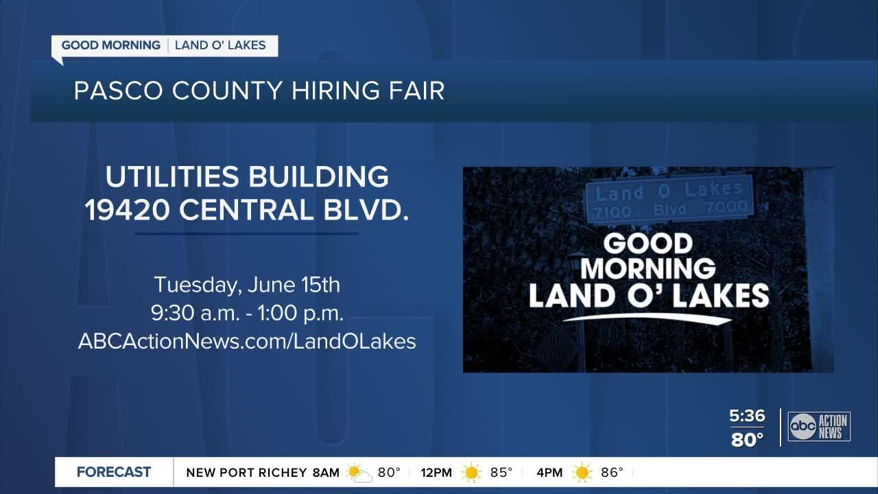 Pasco County's Human Resources Department hosting job fair in Lake O' Lakes