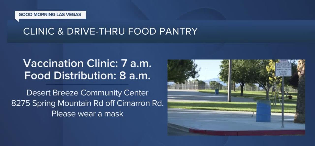 Vaccine clinic and drive-thru food pantry