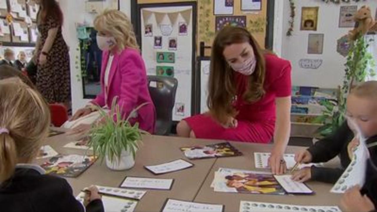 Jill Biden and Duchess visit Cornwall school