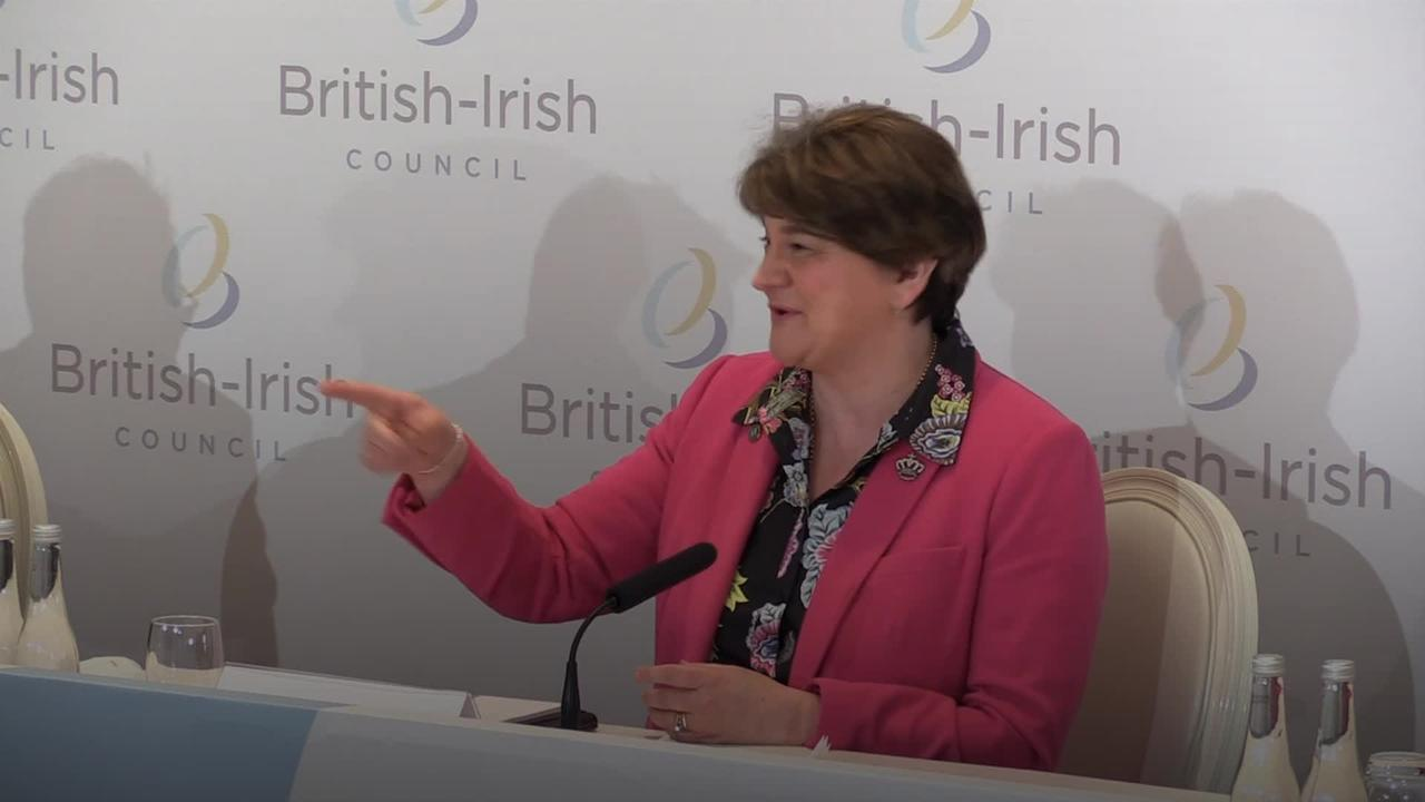 Arlene Foster serenades politicians and media during press conference
