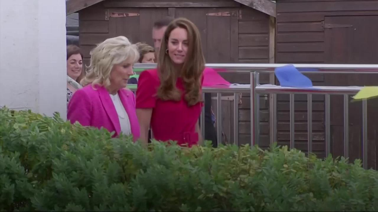 Kate and US First Lady visit school as G7 summit begins