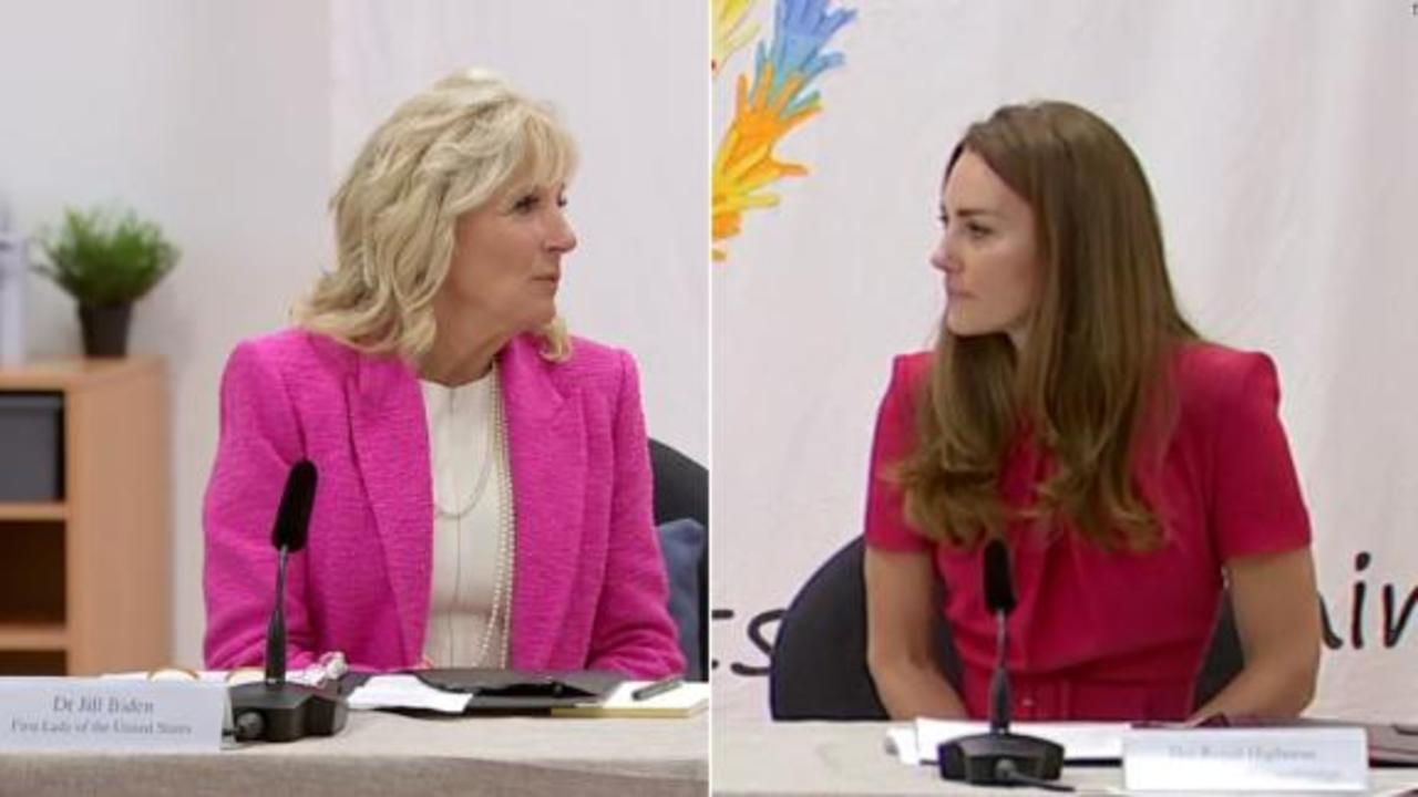 See Jill Biden and the Duchess of Cambridge host school roundtable