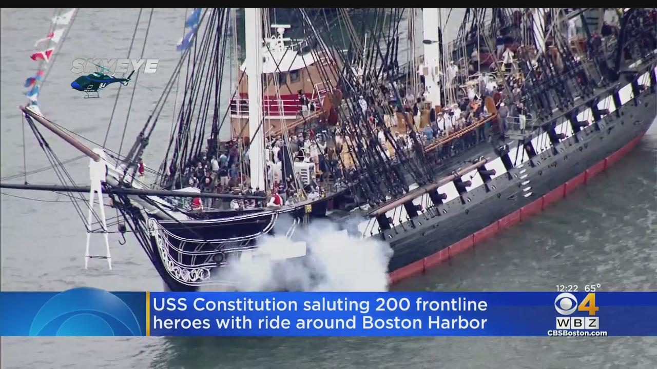 USS Constitution Salutes Frontline Heroes With Ride Around Boston Harbor