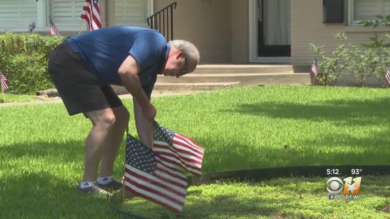 Dallas Community Surprises Veteran With Dozens Of American Flags On Lawn