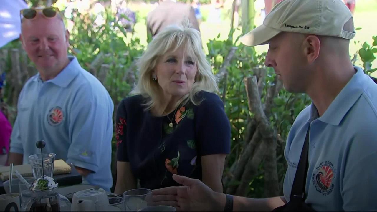 Jill Biden meets volunteer group helping military veterans