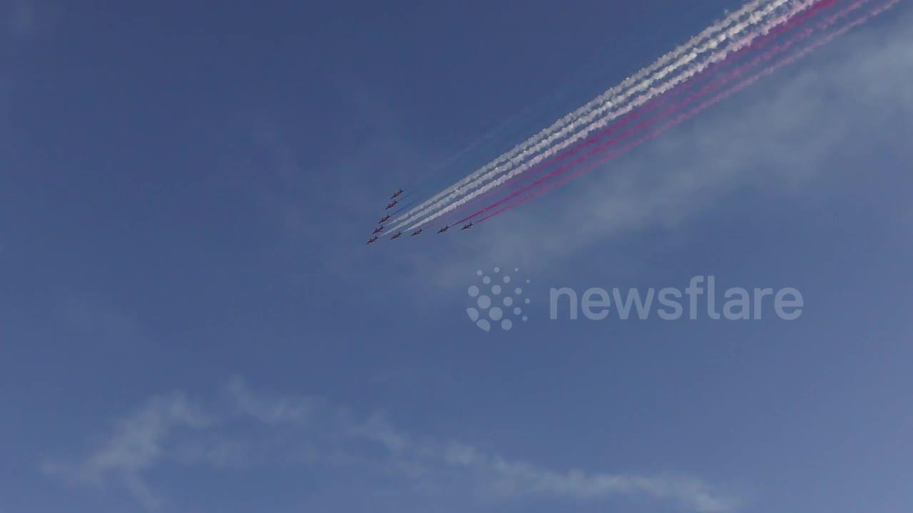 Red Arrows fly over Carbis Bay in spectacular display for G-7 summit