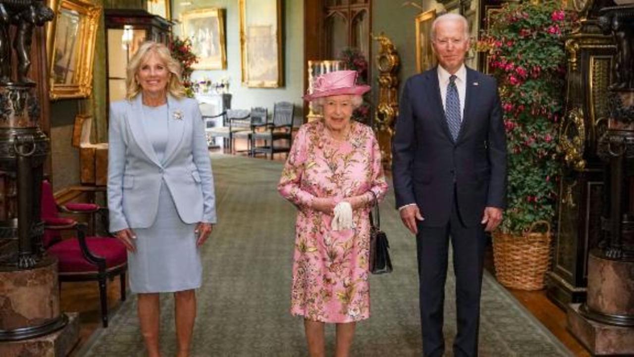 Queen Elizabeth greets the Bidens at Windsor Castle
