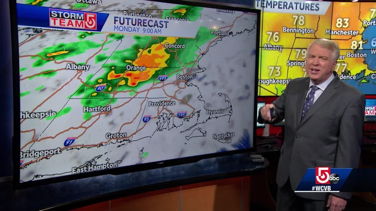 Video: Scattered showers, thunderstorms on tap for Massachusetts to start work week