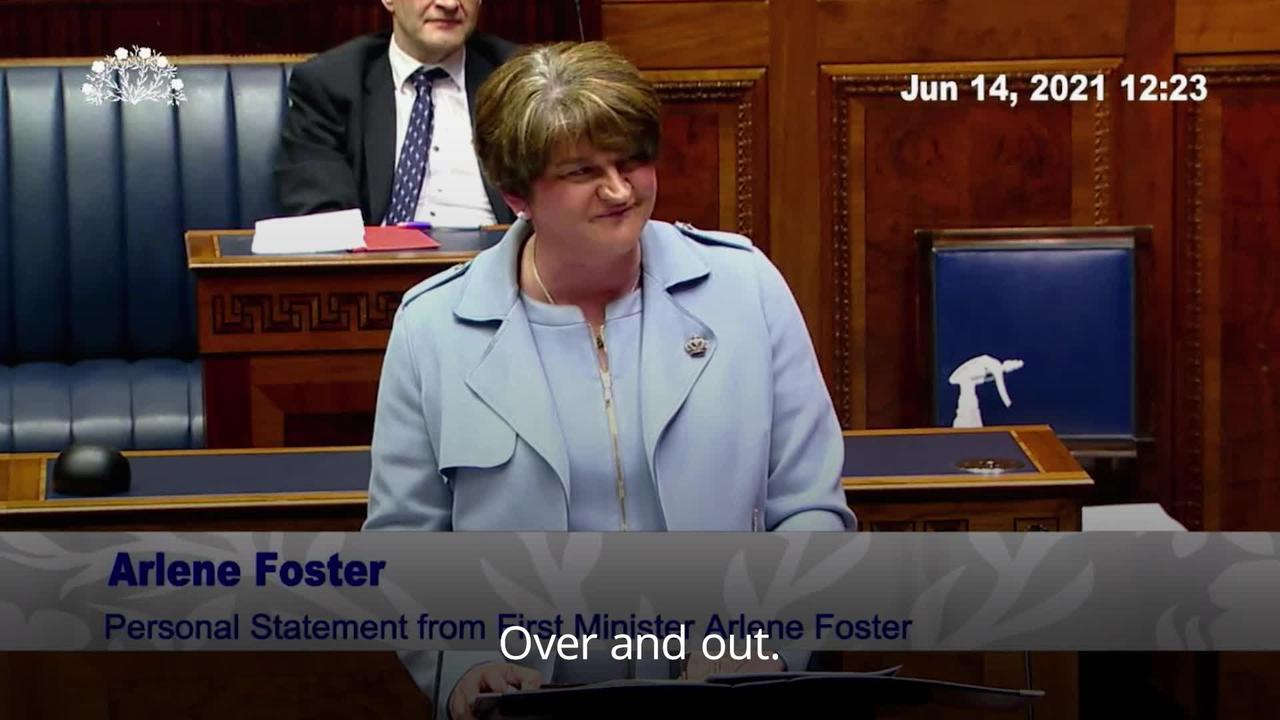 Arlene Foster urges respect for differing identities in resignation speech
