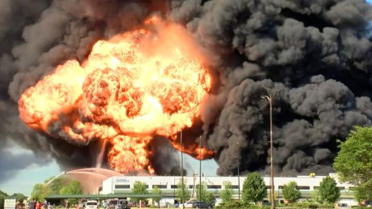 Explosive chemical factory fire forces evacuation