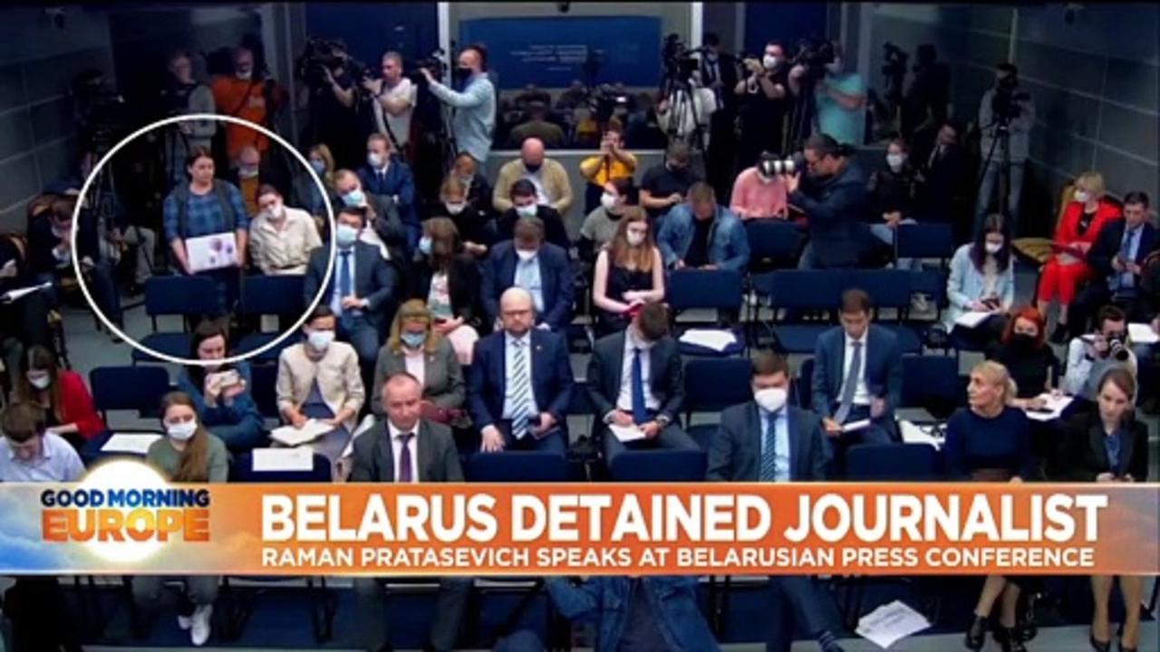 Belarusian journalist arrested off flight was 'hostage' at press conference