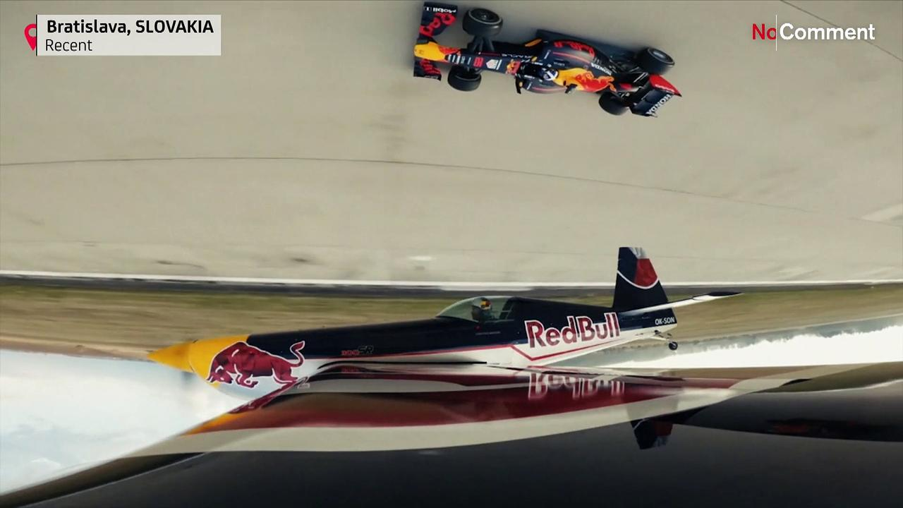 Coulthard-driven Red Bull F1 car takes on inverted race plane