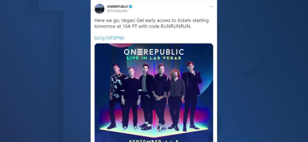 OneRepublic announces Labor Day performances in Las Vegas