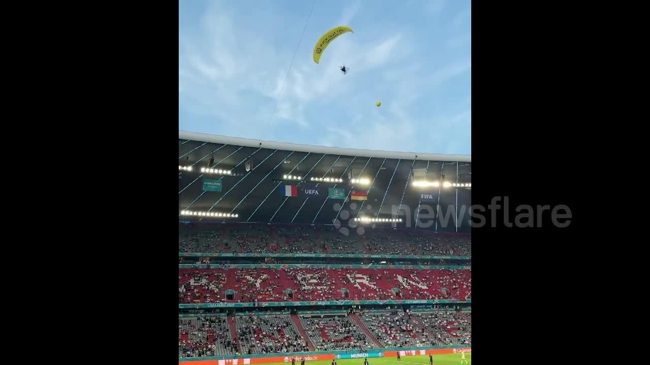 EURO 2020 interrupted when greenpeace protestor parachutes during France-Germany match