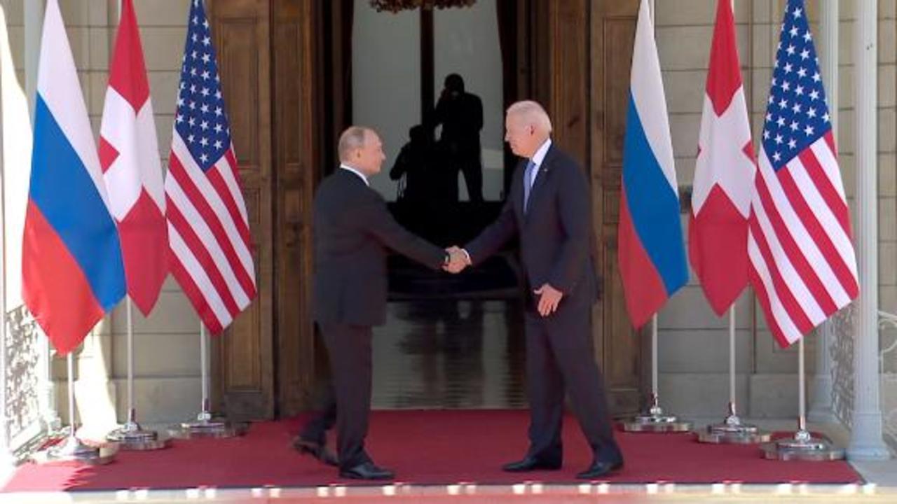 See Biden and Putin shake hands as summit begins in Geneva