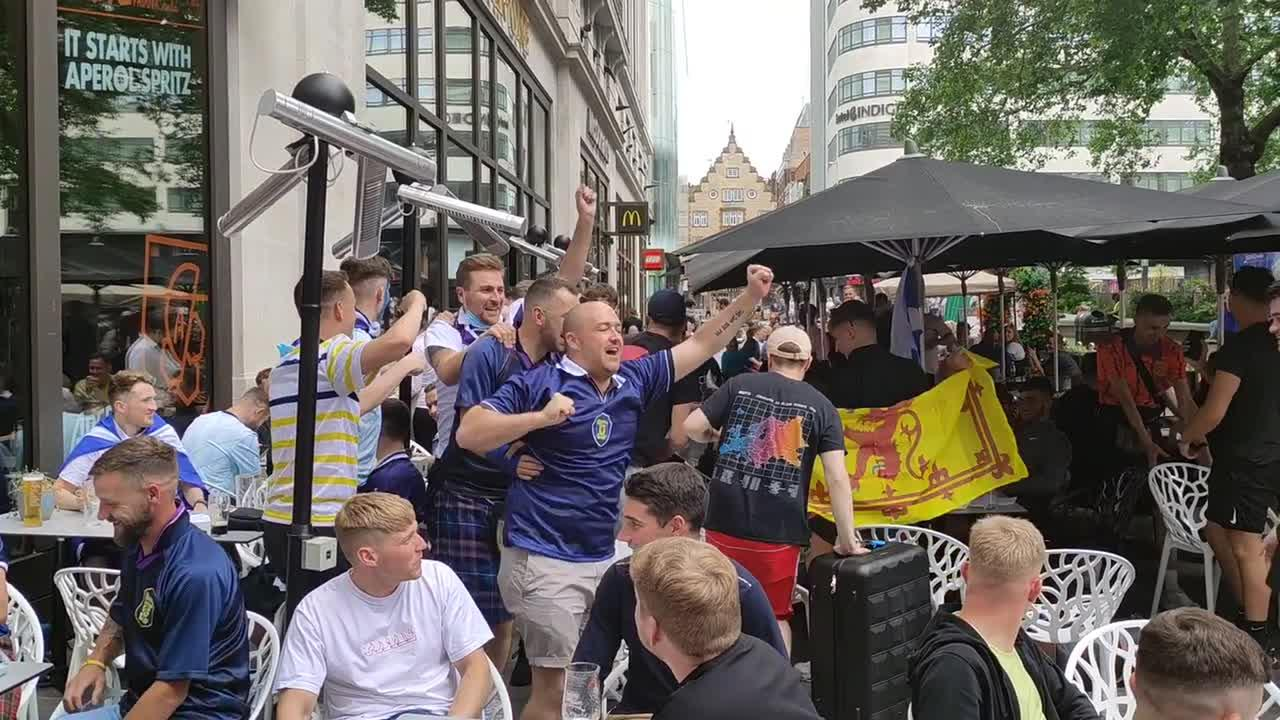 Tartan Army dance conga in Leicester Square ahead of England clash at Wembley