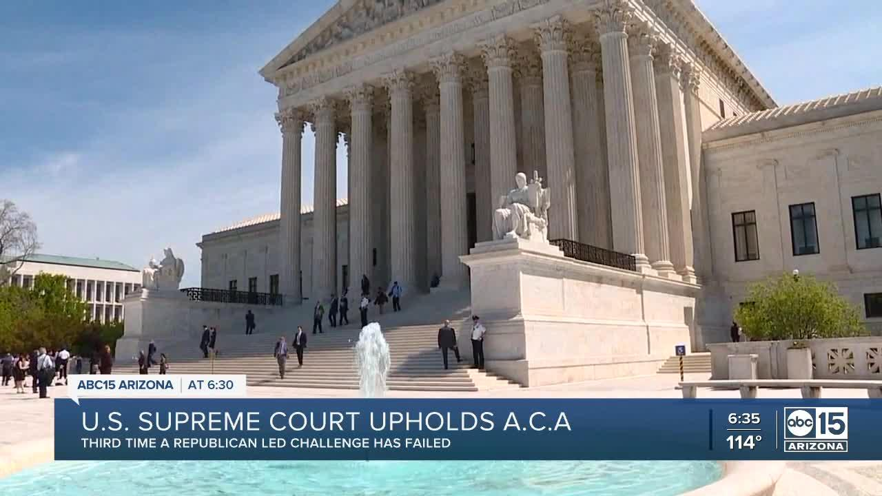 U.S. Supreme Court upholds the Affordable Care Act, third time a Republican-led challenge has failed