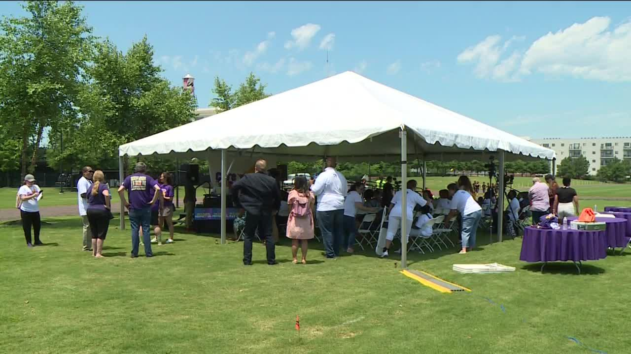 Ayala, Democratic candidate for lieutenant governor, addresses crowd on Juneteenth