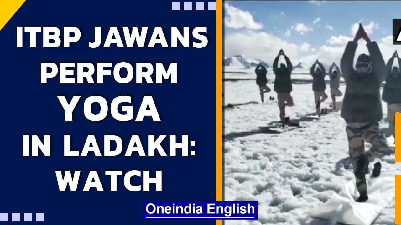 ITBP jawans perform Yoga at an altitude of 18,000 ft in Ladakh  International Yoga Day Oneindia News