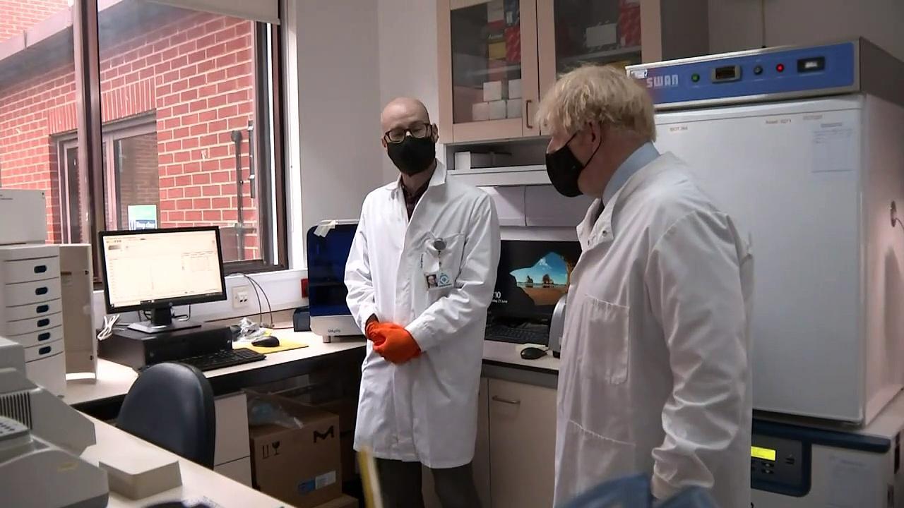 Boris Johnson visits Hertfordshire laboratory