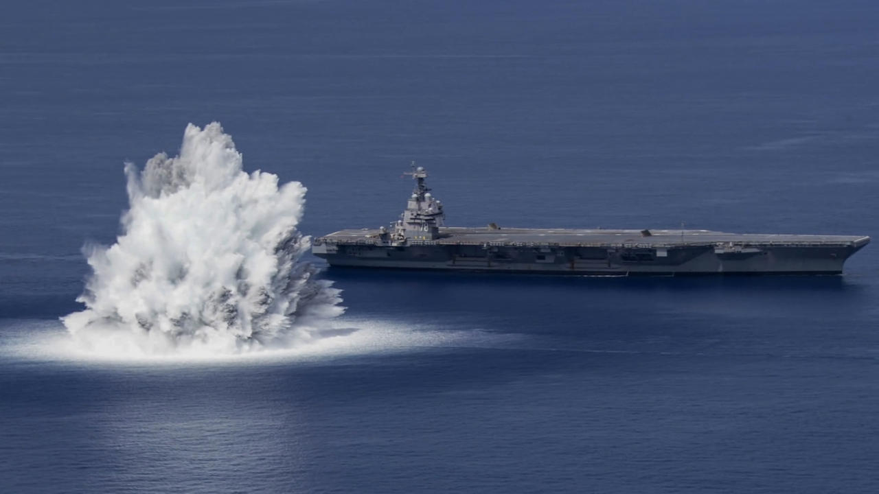 Explosive Scenes As U.S. Warship Is Subjected To Full Ship Shock Trial