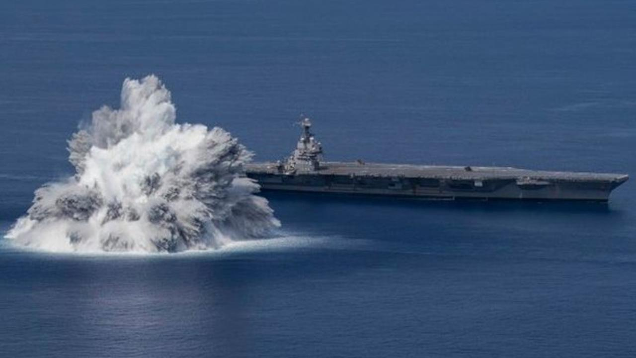 Navy 'Shock Tests' aircraft carrier with explosion off Florida coast