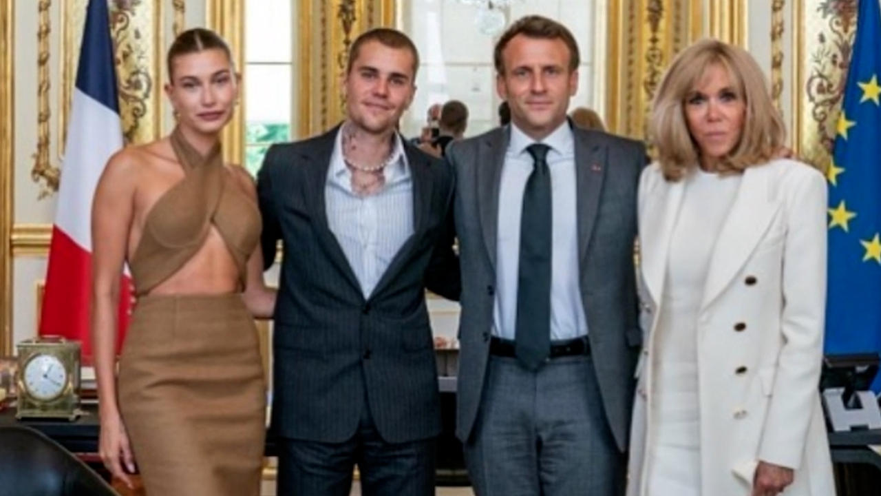 Justin and Hailey Bieber meet with French president in Paris