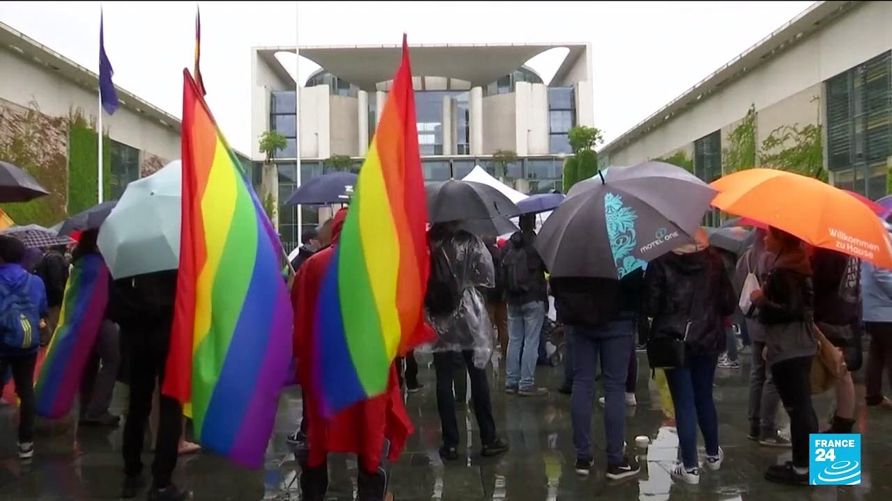 Germany turns rainbow-coloured in protest at UEFA stadium ban